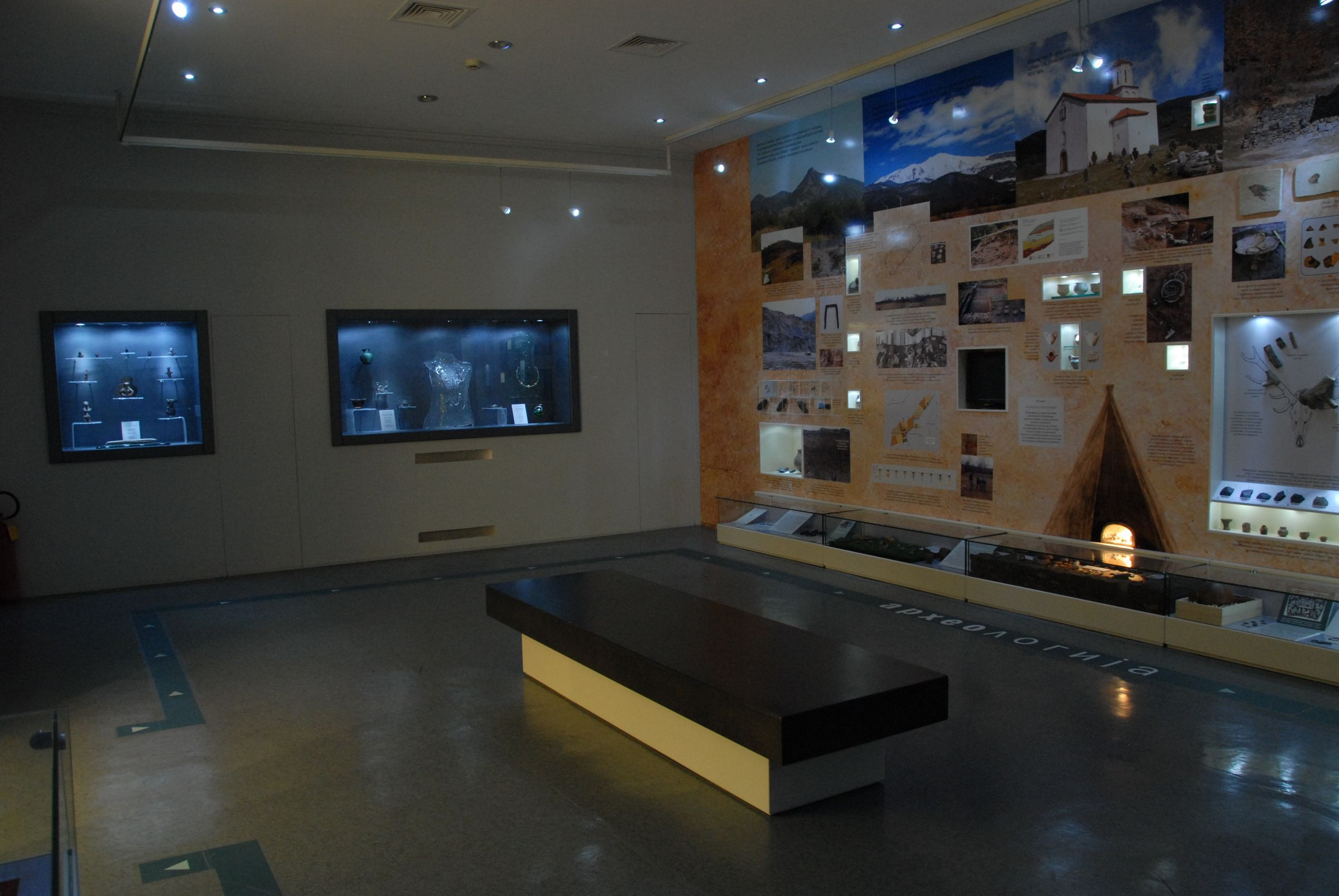 View of display cases with prehistoric material on the left wall of the Archaeology Hall