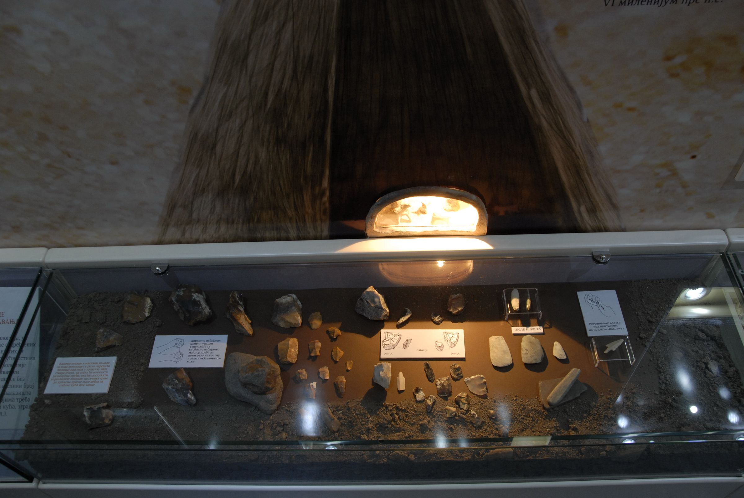Display case with stone material