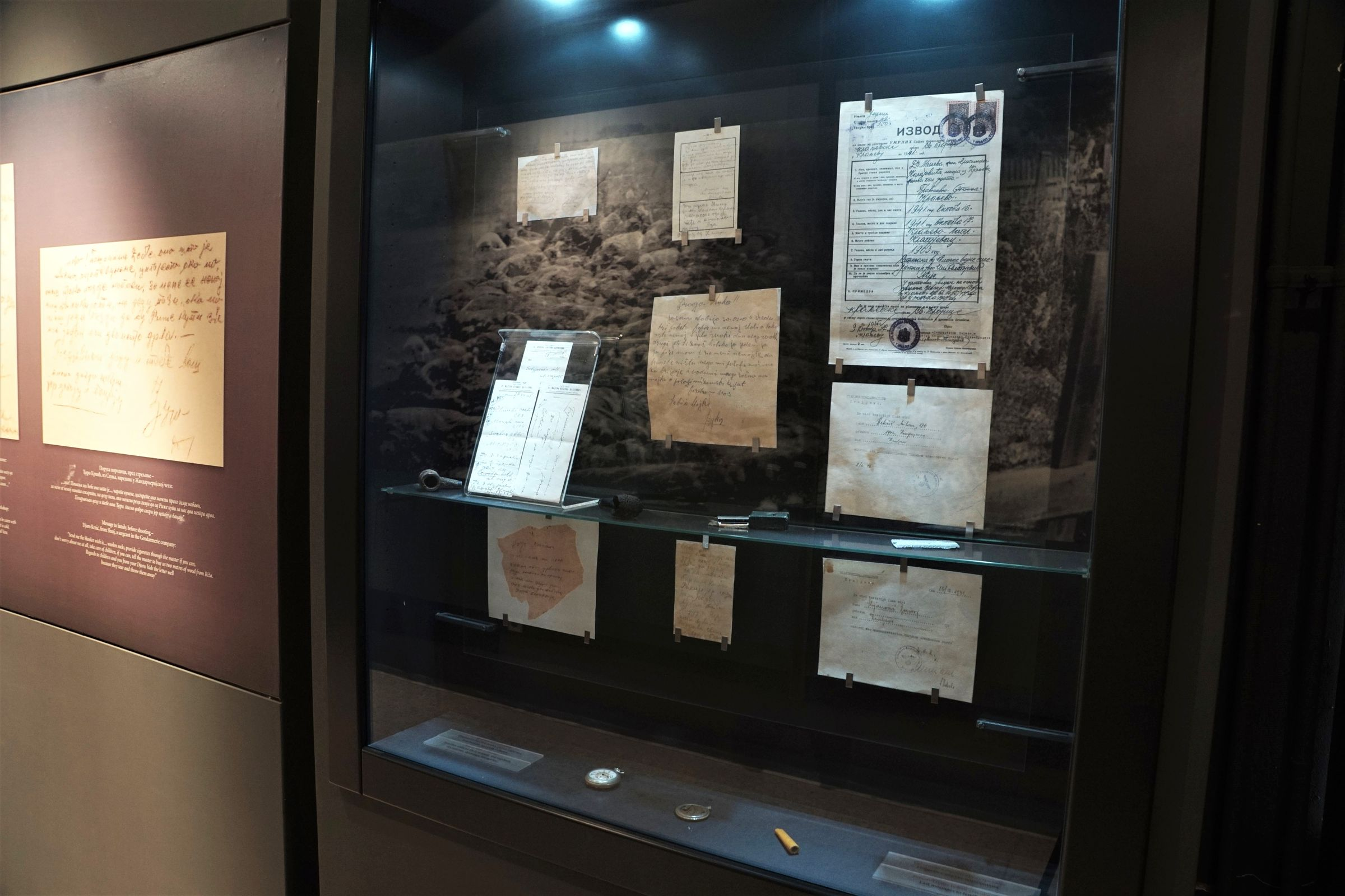 Display case with the last messages of the Victims of Shooting in Kraljevo in October 1941